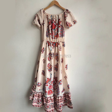 2017 Beach Dress Summer Short Sleeve Off The Shoulder Sexy Dress Vintage Floral Print Bohemia Dress Women Loose Women's Dresses