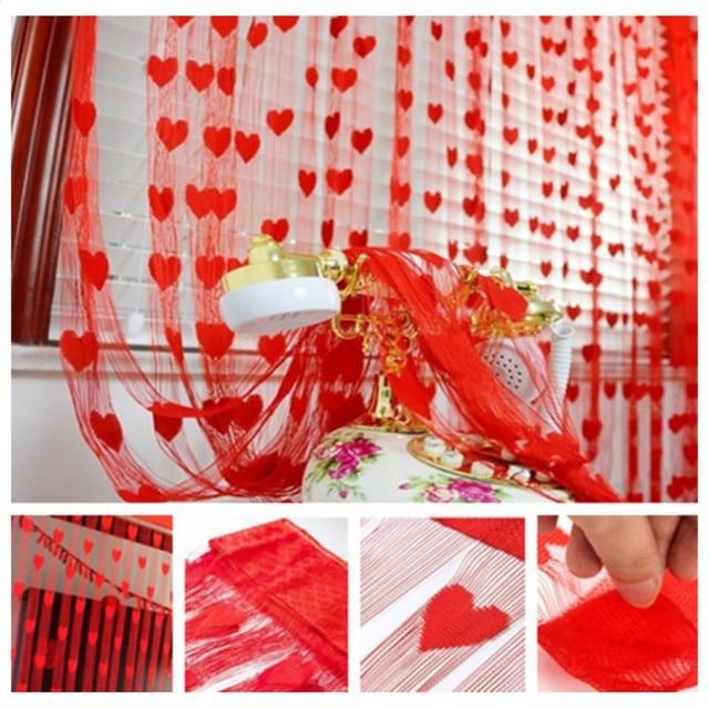 1M*2M Window Curtains Romantic Peach Heart Line Curtain Wedding ...