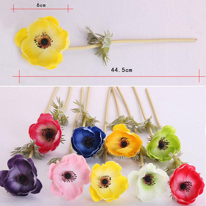 Hot Sale Real touch flowers PU Flower Roses Artificial Anemone ...