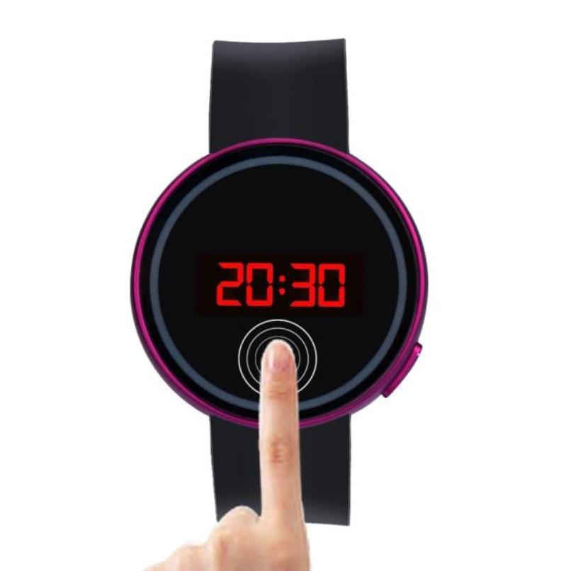 Moda Das Mulheres Dos Homens LEVARAM Relógios Touch Screen Data Relógio Do Esporte Silicone Relógio de Pulso Preto atacado