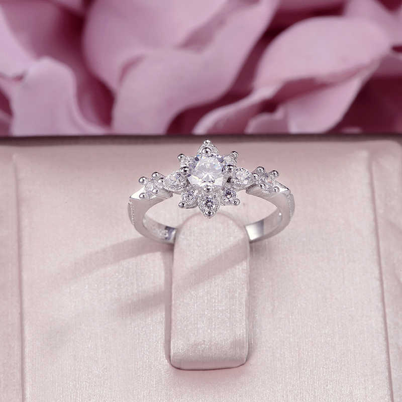 Rings For Women Fine Jewelry 100% S925 Silver Flower Cubic Zirconia White Double Color Ring Bridal Wedding Anillos Mujer