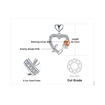 Heart Rose Silver Pendant Necklace  4