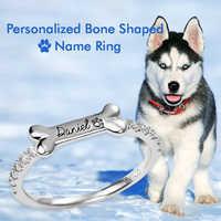 MYLONGINGCHARM Personalisierte Hund Knochen Geformt Name Ring 925 sterling silber Ring