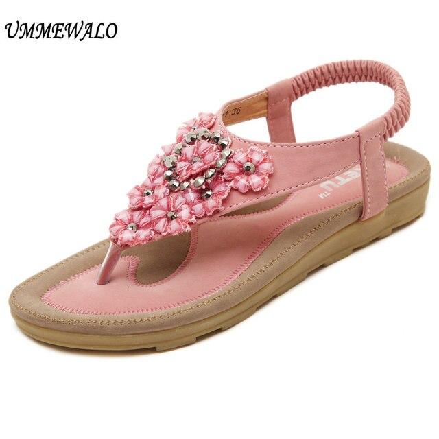 UMMEWALO Sandals Women T-strap Flip Flop Thong Flat Sandals Ladies Floral  Rhinestone Gladiator Sandal 96478597fd2a