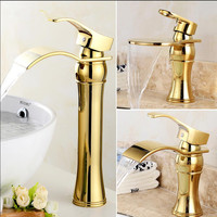 Free shipping Chrome/gold Waterfall Faucet Brass Bathroom Faucet Bathroom Basin Faucet Mixer Tap Hot & Cold Sink faucet Crane