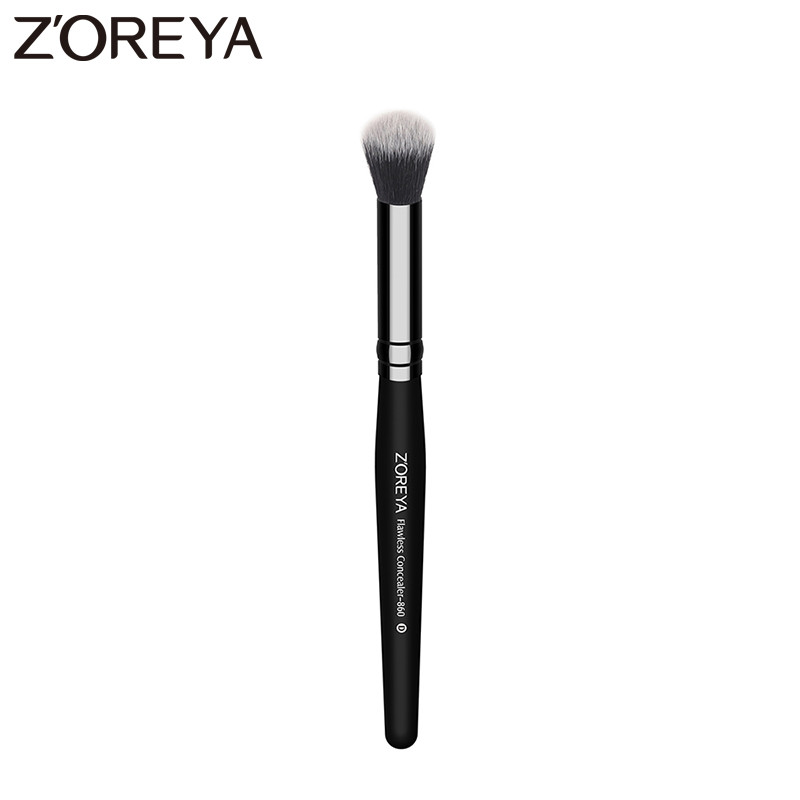ZOREYA Brand women Flawless concealer makeup brushes black wooden handle Cosmetic brush tool for wholesale