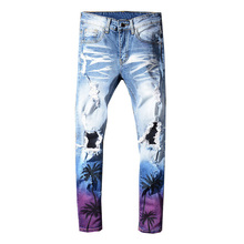 Sokotoo Mens coconut palm printed colored ripped jeans Slim fit holes distressed stretch denim pants Trousers