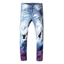 Sokotoo mannen kokospalm bedrukte gekleurde ripped jeans Slim fit gaten verontruste stretch denim broek Broek