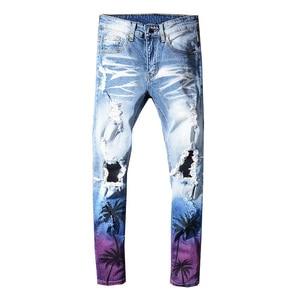 Image 1 - Sokotoo גברים של דקל קוקוס מודפס בצבע ripped ג ינס Slim fit חורים במצוקה למתוח ג ינס מכנסיים מכנסיים