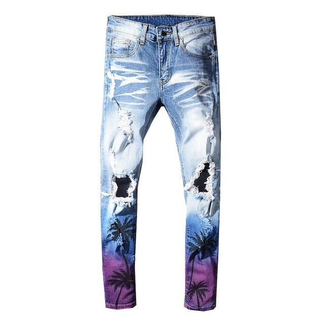 Sokotoo גברים של דקל קוקוס מודפס בצבע ripped ג ינס Slim fit חורים במצוקה למתוח ג ינס מכנסיים מכנסיים