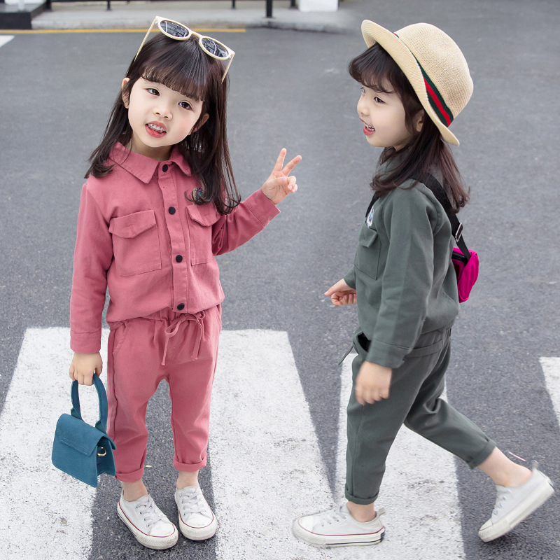 Autumn Baby Girls Solid Print Long Sleeve Shirt Tops Trousers Casual Outfits Clothes in Clothing Sets from Mother Kids