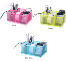 Desk Organizer Storage Mesh Net Metal Penholder Pencil Holder Stand Container for Home