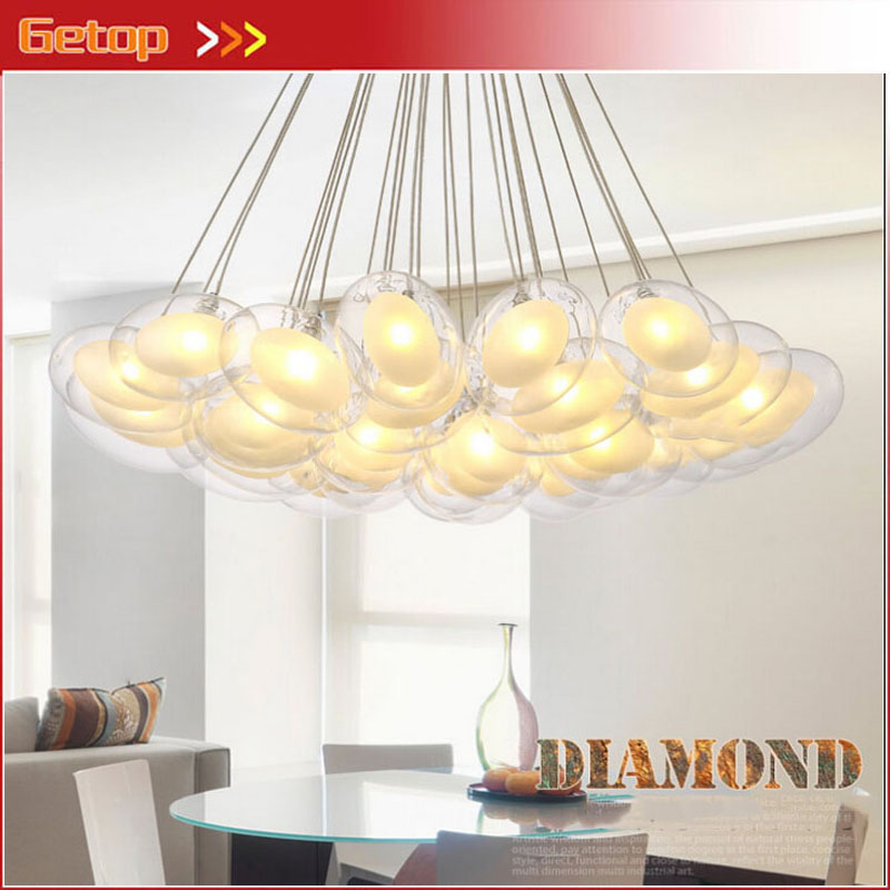 ZX 2016 New Creative Glass Ball Pendant Lamp Artistic Goose Egg Shape G4 LED Lights Section Remote Control Sitting Room Lamp egypt imported crystal 8 light pendant lights in ball shape chrome pl1040