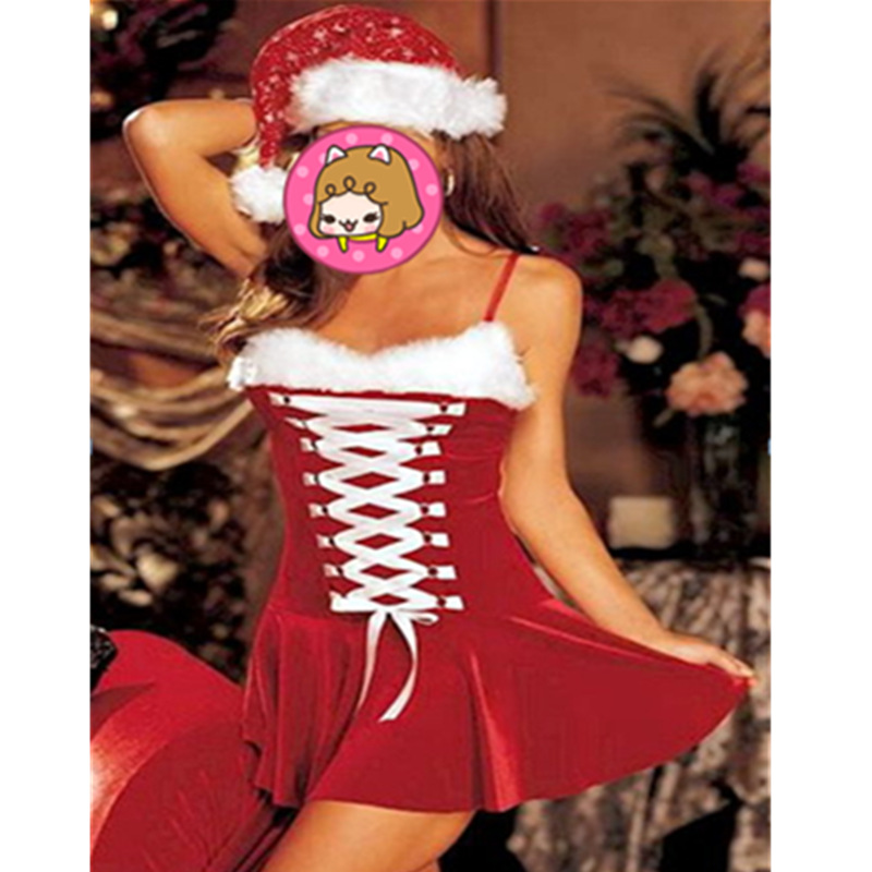 Free Set Sexy Women Santa Claus Christmas Costume Party Girls Outfit Fancy Dresses White Hat Christmas Clothing