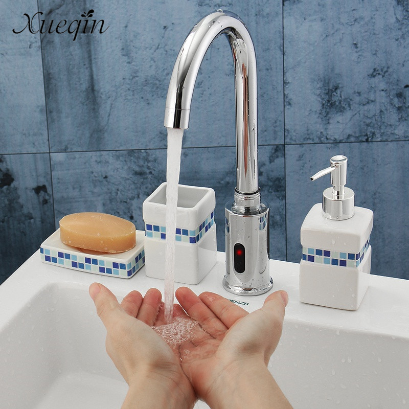 Xueqin Hands Touch Automatic Sensor Control Kitchen Water Faucet Hot Cold Bathroom Sink Basin Sense Faucets Tap automatic sensor faucet 89006 bathroom basin sink faucet hot