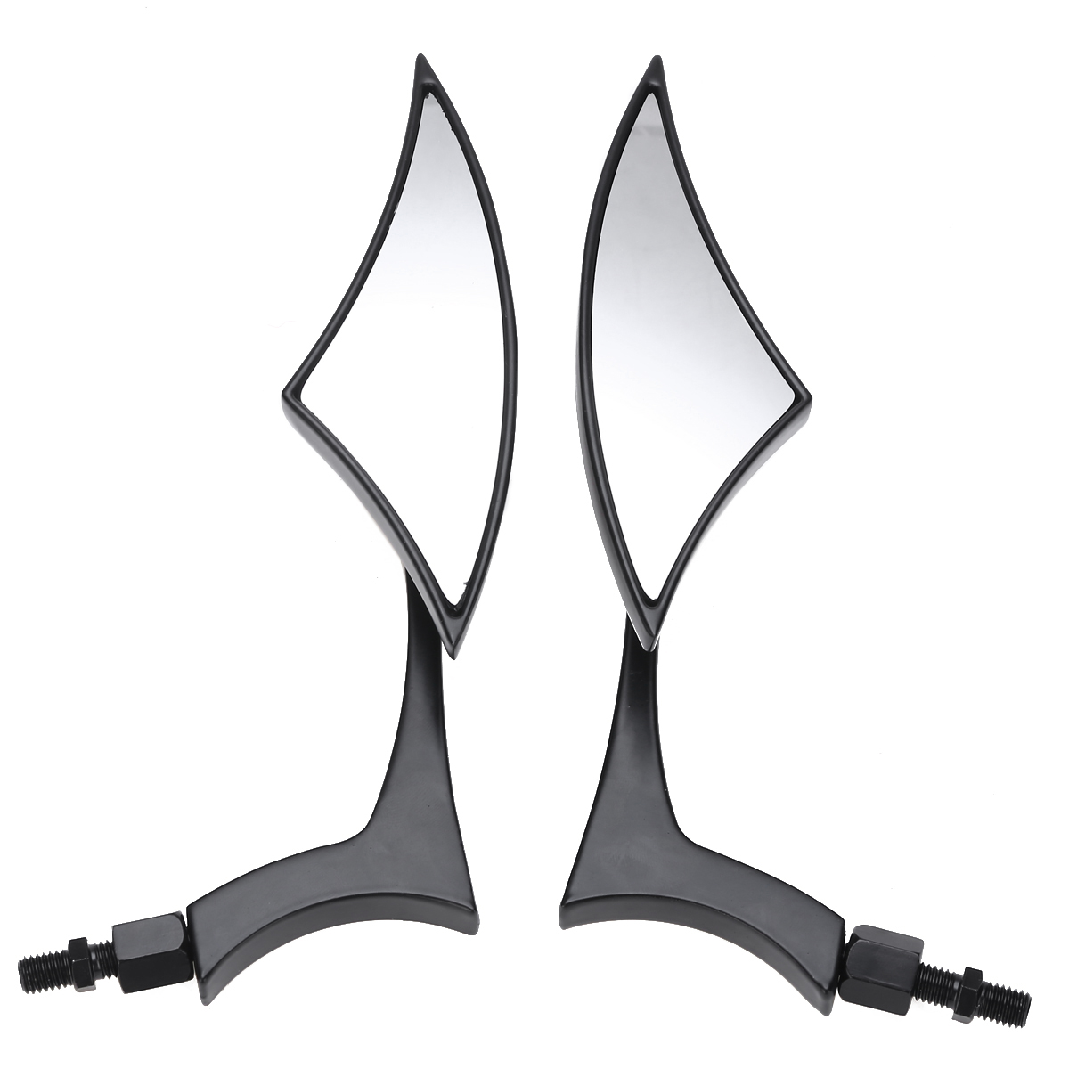 For Motocycle Cruiser Chopper 1Pair Rearview Side Mirror ABS Shell Clear Glass Black CNC Aluminum With 8/10MM Bolts Treyues