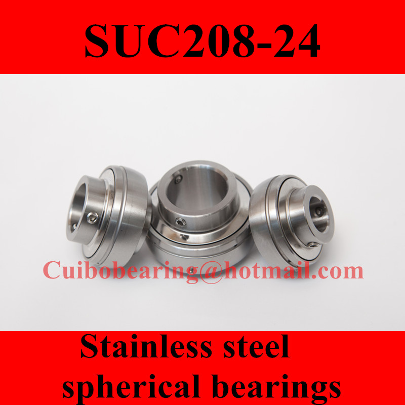 Freeshipping Stainless steel spherical bearings SUC208-24