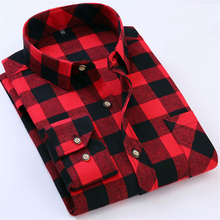 Red Black Plaid Shirt Men Social Slim Fit Casual Mens Long Sleeve Shirt Brushed Tartan Clothing Flannel Shirts Male Camisa