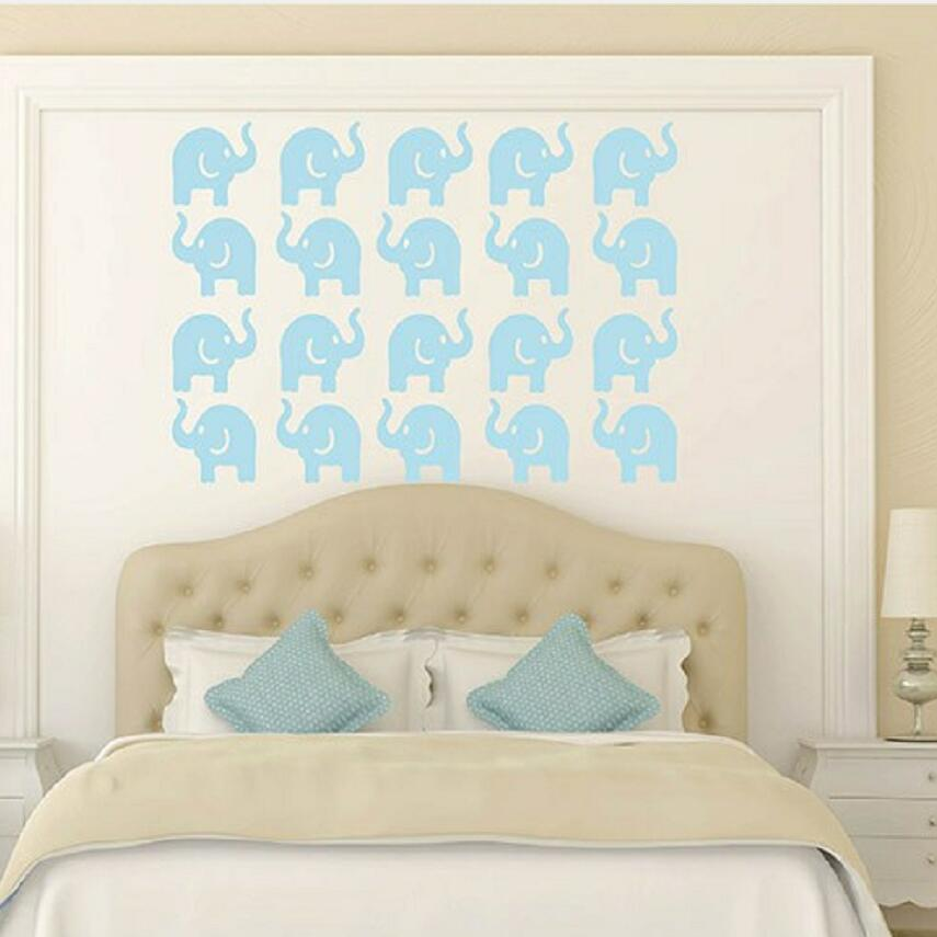 Us 7 87 25 Off Free Shipping Lovely Elephant Wall Paper Kids Nursery Mural Baby Room Diy Children Decors Sticker Y 187 In
