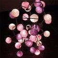 20 bolas / Set púrpura de color blanco cremoso llevó algodón bolas de secuencia de hadas luces de navidad boda de Halloween decoración de la boda regalo