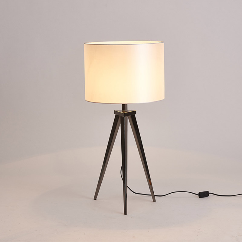 Modern Fabric Tripod Table Lamp Office Living Room Bedroom Bedside Decor  Light Home Lighting Black/White Lampshade E27 110 220V