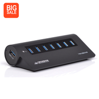 Aluminum 7 Ports USB 3 0 Hub Desk External USB Hub Extended USB Splitter Support Windows
