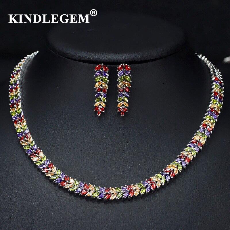 Kindlegem 2019 Luxury Bling Bling Zircon Jewelry Set Fashion Silver Chromatic Earrings Necklace For Women Party