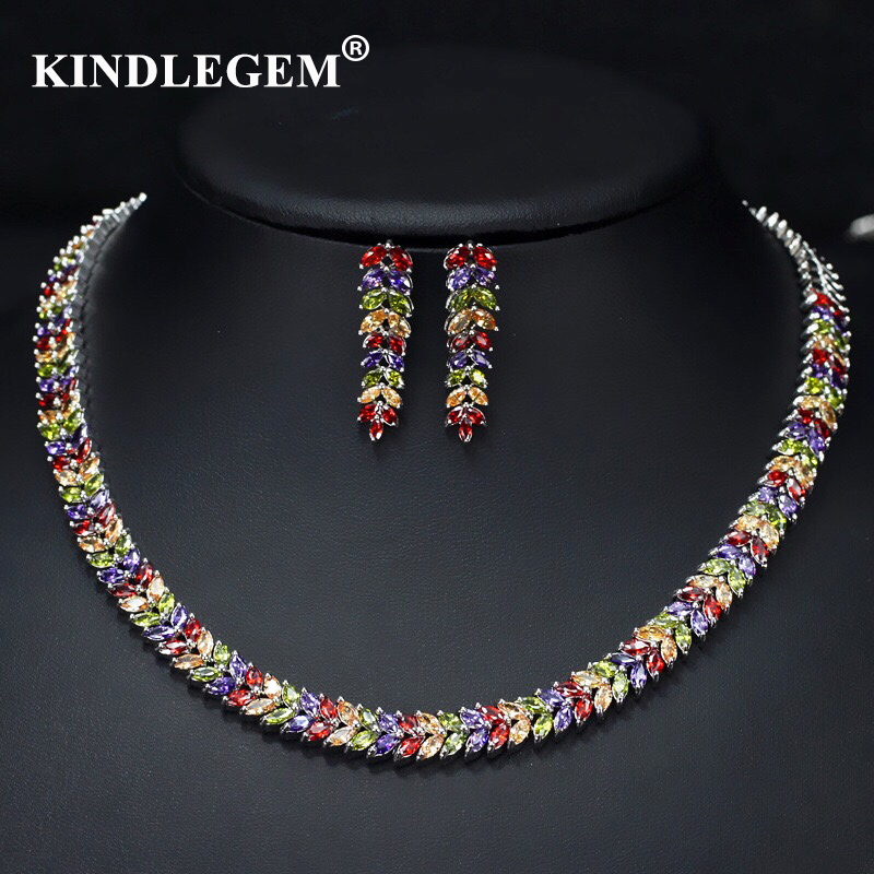 Kindlegem 2019 Luxury Bling Bling Zircon Jewelry Set Fashion Silver Chromatic Earrings Necklace  For Women Party Wedding
