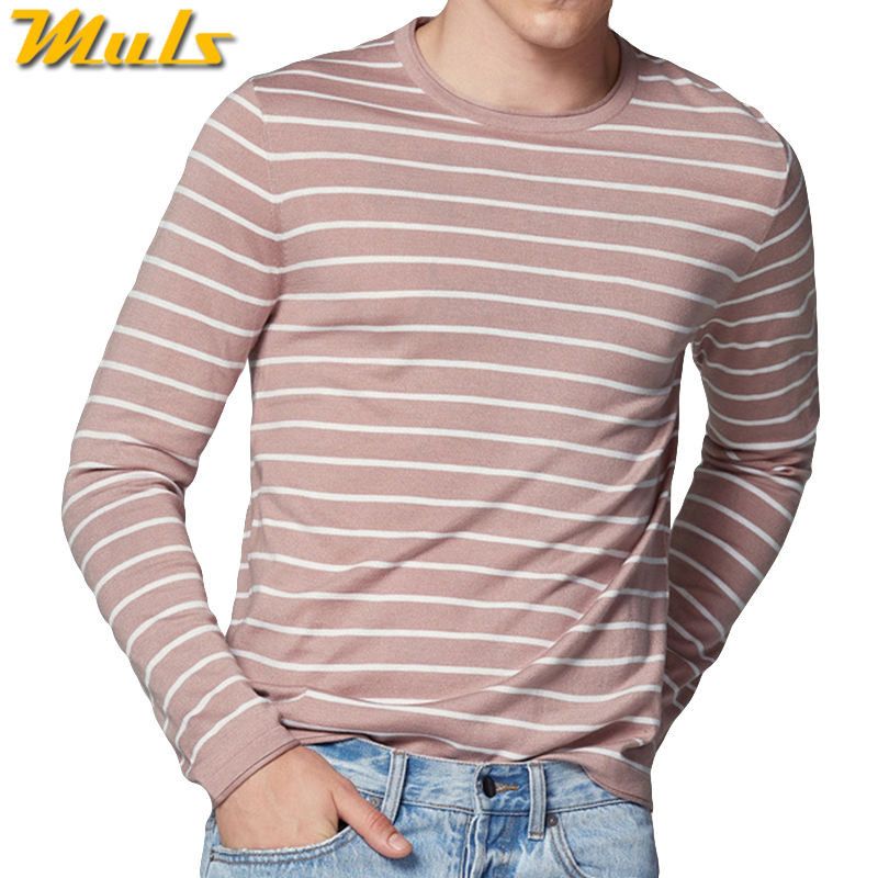 Autumn Sweater Shirt Men Striped O Neck Male Sweater Pullovers High Quality Thin Knitted Shirt 2018 Spring Winter Brand Muls