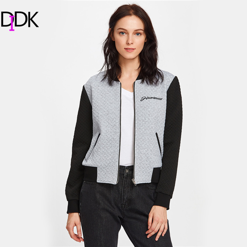 DIDK Patchwork Two Tone Embroidered Textured Bomber Jacket 2017 ...