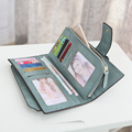 2016 New Fashion Women Wallets Drawstring Nubuck Leather Zipper Card Holders Women Long Design Purse Retro Large Capacity Clutch