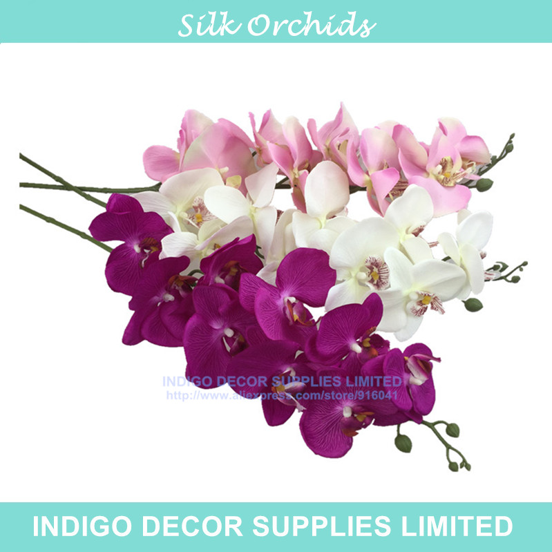 Whole 100pcs Phalaenopsis Orchids Silk Flower 9flowers Stem Artificial Wedding Fl