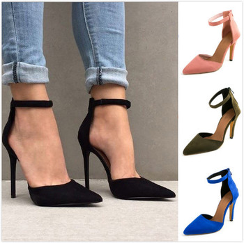 Women 11cm High Heels Plus Size Sexy Woman Pumps Ankle Strap Thin Heel Point Toe Party Wedding Shoes For Ladies Stilettos plus size 34 46 fashion high heels shoes women pumps square heel pointed toe dress pumps shallow party stilettos ladies footwear