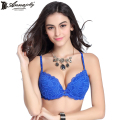 Annajolly Women Sexy Push Up Bras Top Embroidery Blue Brassiere Floral Lingerie 3/4 Cup Underwear New Fashion Clothing 8593