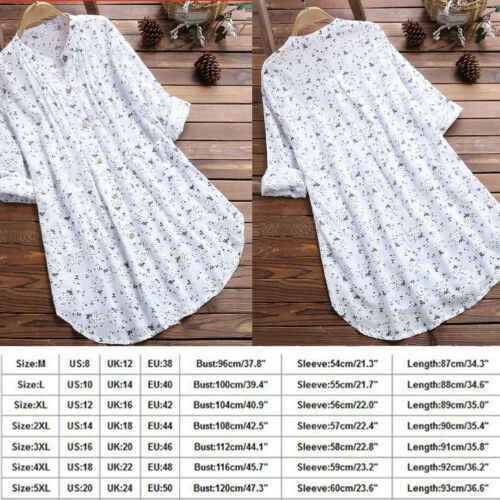 Plus Size Boho Vrouwen Herfst Zomer Casual Zoete Vlakte Bloem Print Lange Mouwen Kaftan Baggy Blouse T-shirt Tops Casual tuniek