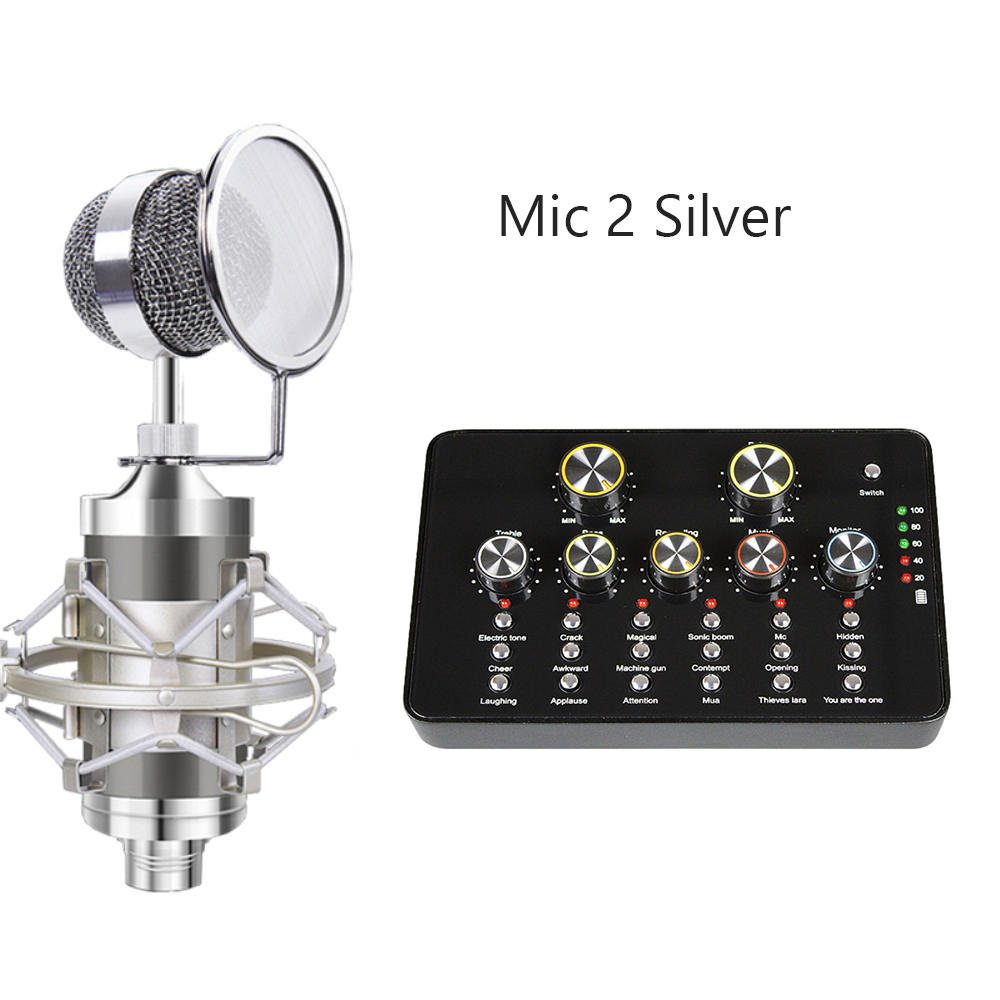 Karaoke Microphone Condenser Sound Card for Live Broadcast Mobile Phone PC Instrument Music Recording Home Studio Microphone