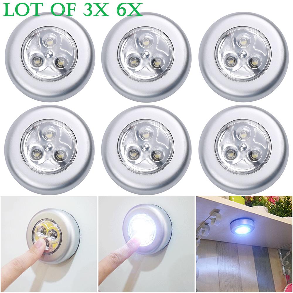 3X 6X 3LED Touch Click Lights Battery Powered Kitchen Under Cabinet Closet Lamps