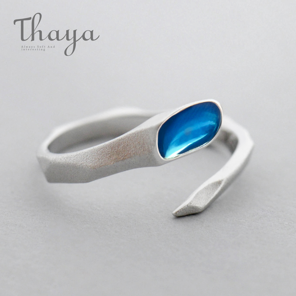 Thaya Water Design s925 Sterling Silver Finger Ring Blue Clear Edges Matte Ring for Women Ladies Fine Jewelry Gift
