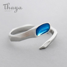 Thaya Water Design s925 Sterling Silver Finger Ring Blue Clear Edges Matte Ring for Women Ladies Fine Jewelry Gift(China)