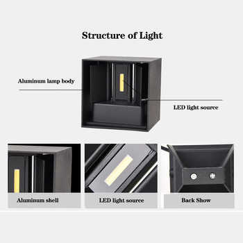 HOT Outdoor Wall Lamp Dimmable Aluminum COB IP65 Waterproof Modern Wall Light Living Room Porch Led Floodlight Surface Mounted