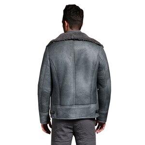 Image 5 - Qualität Dicken schaffell mantel lammfell pelz Männlichen Formal Red Lammfell Kleidung echtes lammfell mantel für männer Outwear