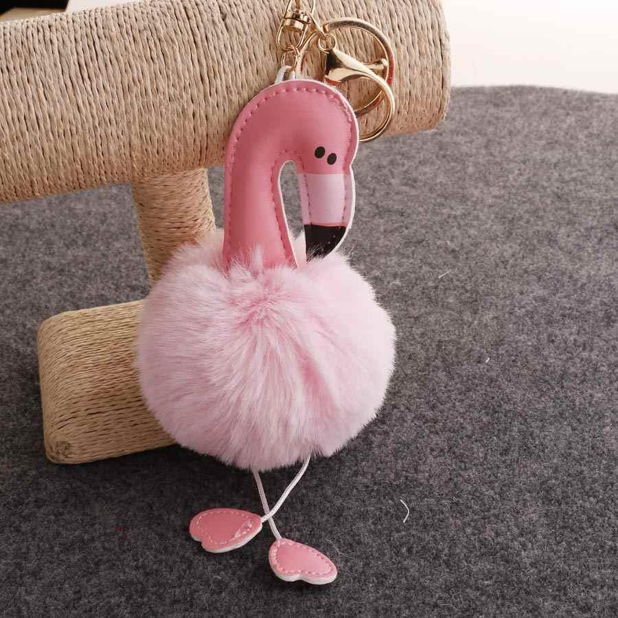 Bonito chaveiro pompom chaveiro flamingo macio falso coelho bola de pele saco do carro feminino pompom chaveiro acessórios