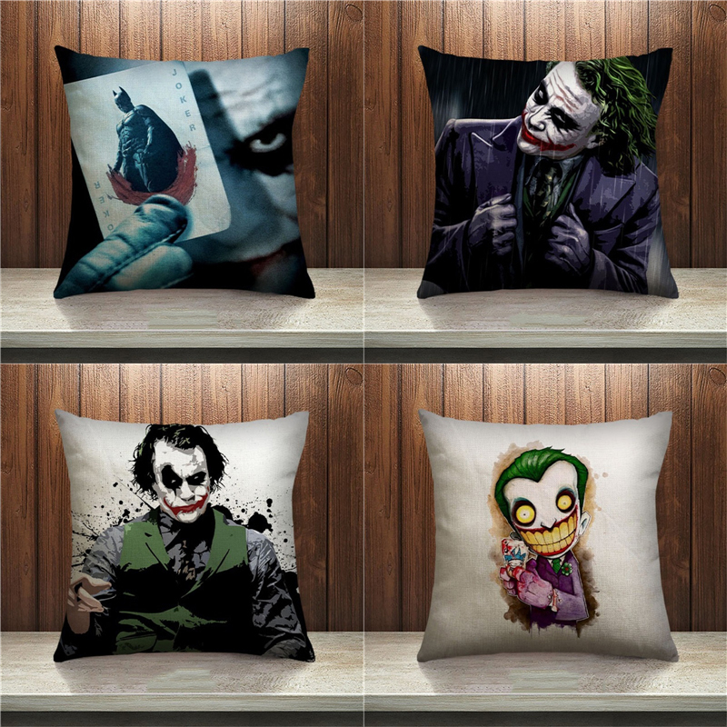 New Fashion Hot Joker Pattern Pillow Case Sofa Bedroom Home Decorative Throw Pillow Cover Sequin Cushion Cover For Your Life