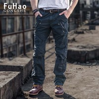 Men's Cotton Casual Military Army Cargo Camo Combat Work Pants Casual Pant Mens Long Trousers with Zippers Plus Size