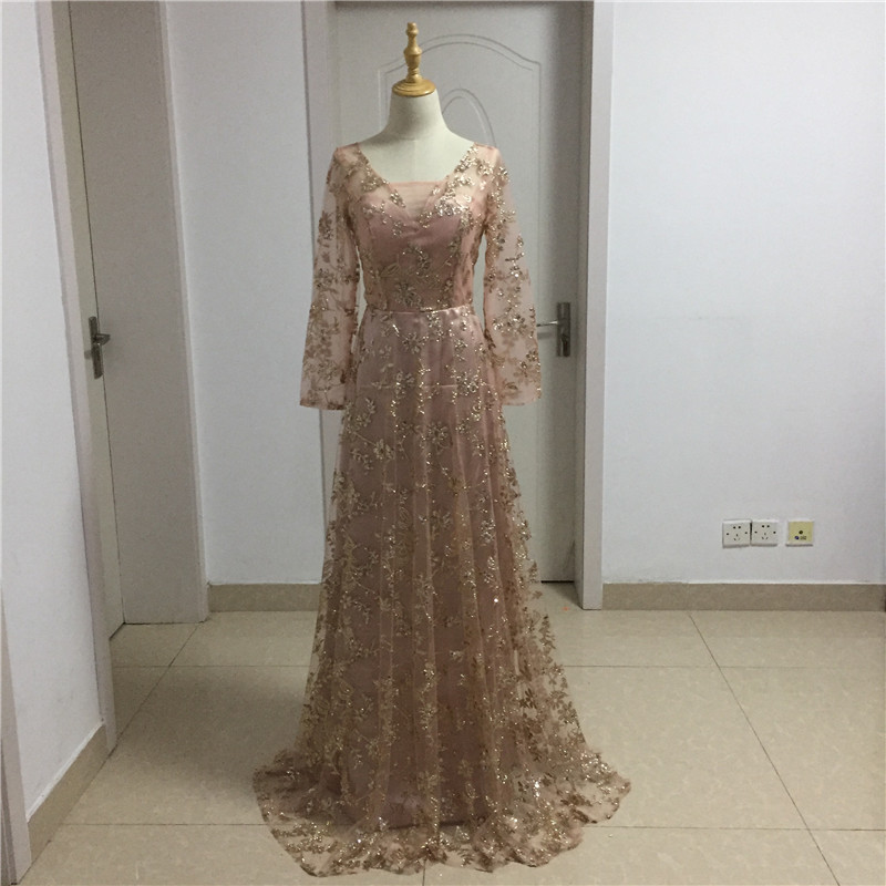 Weddings & Events Energetic Stunning Sequined A-line Evening Dress With Long Sleeves 2019 Sweep Train Red Carpet Prom Gowns Party For Women Robe De Soiree Fragrant Aroma