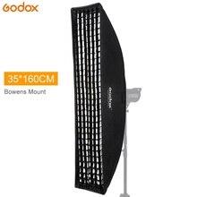 """Godox 14 """"x 63"""" 35x160cm Softbox Bowens góra pasek ula siatki o strukturze plastra miodu miękkie pudełko na zdjęcie Strobe lampy błyskowej Studio"""
