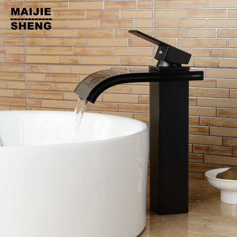 Bathroom glass waterfall faucet black glass bathroom faucet basin mixer waterfall sink tap tall black waterfall faucet tempered black glass waterfall bathroom basin faucet
