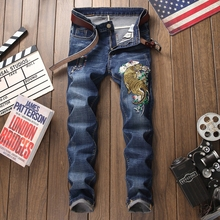 2019 High quality blue jeans hole embroidery brand fashion casual patchwork homme denim trousers plus size 29-38 men's jeans europe america brand pleated retro hole jeans homme casual slim straight jeans for men high quality patchwork demin trousers