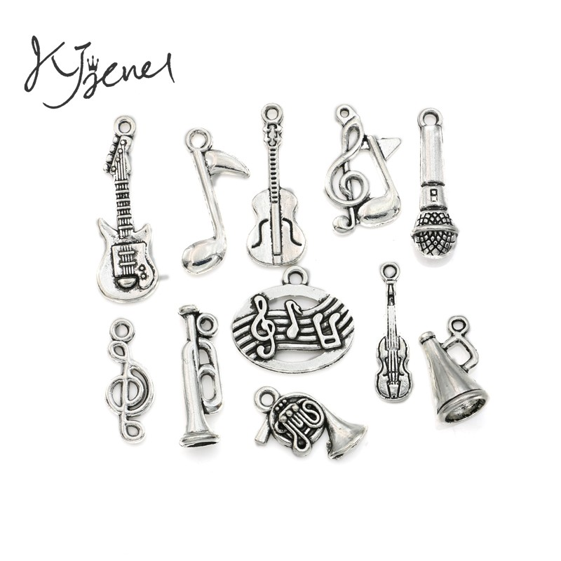 Mixed Tibetan Silver Plated Music Note Guitar Trumpet Tape