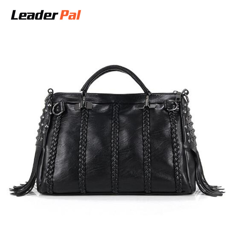 Fashion Rivet Leather Women Handbag Tassel Hobos Women Messenger Bag Spring Casual Tote Bag Shoulder Bags for Woman Bolsos Mujer
